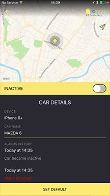 The car-details screen